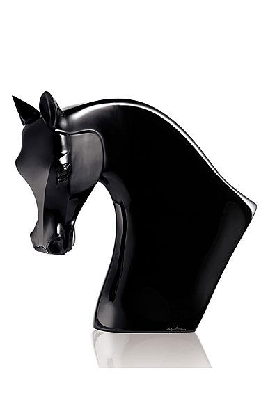 Lalique Crystal, Horse Head Figure Black