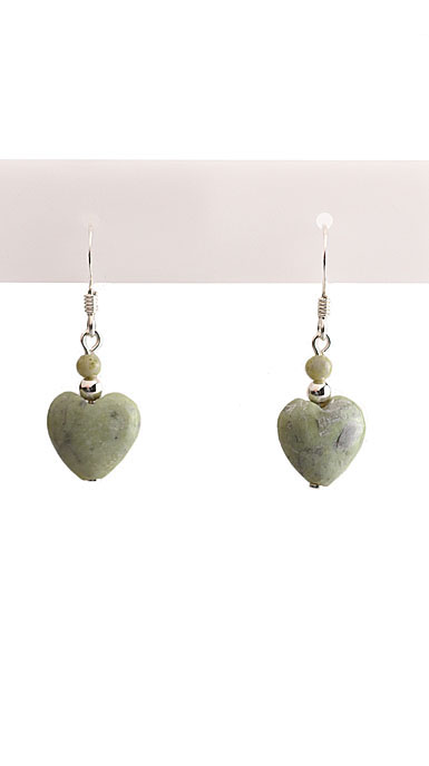 Cashs Ireland, Connemara Marble Sterling Silver Heart Earrings Pair