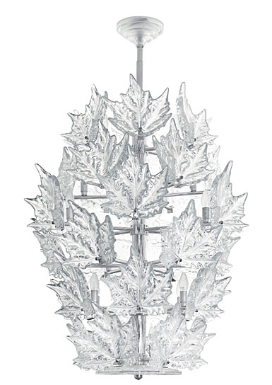 Lalique Champs Elysees 6 Tiers Crystal Chandelier Clear, Chrome