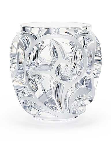 "Lalique Crystal, Clear Tourbillons 8 1/8"" Crystal Vase, Clear"