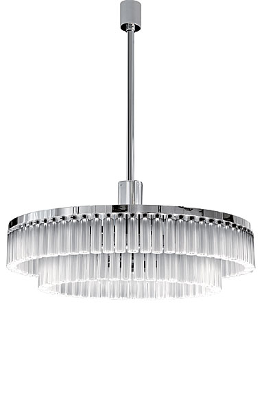 Lalique Orgue Large Crystal Chandelier, Chrome