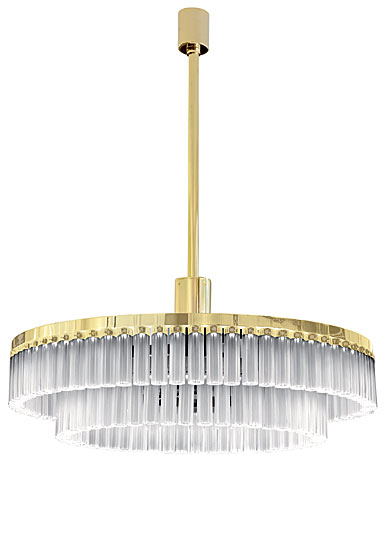 Lalique Orgue 2 Tiers Crystal Chandelier Clear, Gilded
