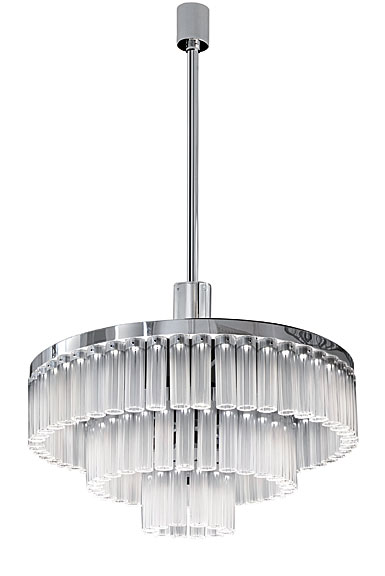 Lalique Crystal, Orgue 3 Tiers Crystal Chandelier, Chrome
