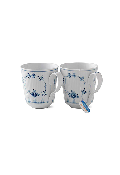 Royal Copenhagen, Blue Fluted Plain Mug, 12.5oz. Pair