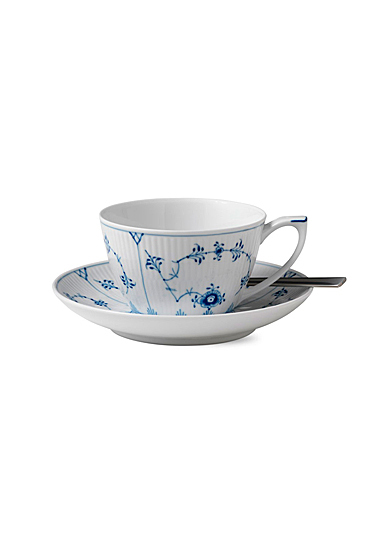 Royal Copenhagen, Blue Fluted Plain Tea Cup and Saucer 9.25oz.