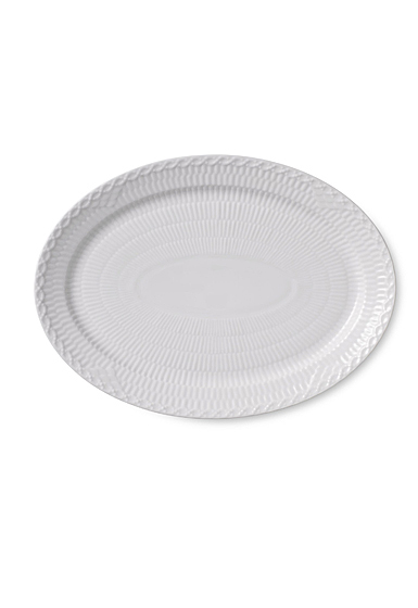 Royal Copenhagen, White Fluted Half Lace Oval Plate 11""