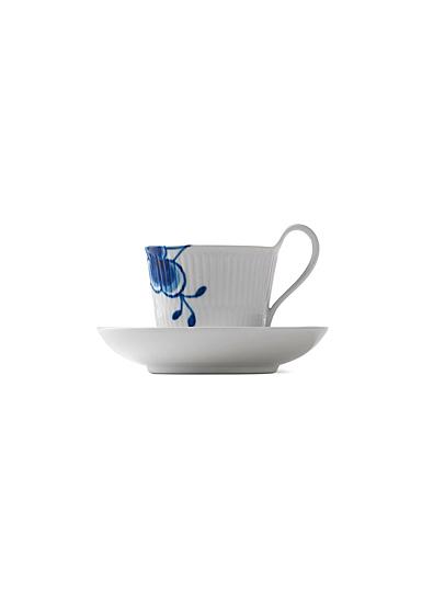 Royal Copenhagen, Blue Fluted Mega High Handle Cup and Saucer #2 8.5oz.