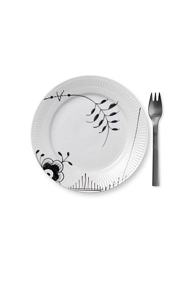 """Royal Copenhagen, Black Fluted Mega Dessert Plate #2 7.5"""""""