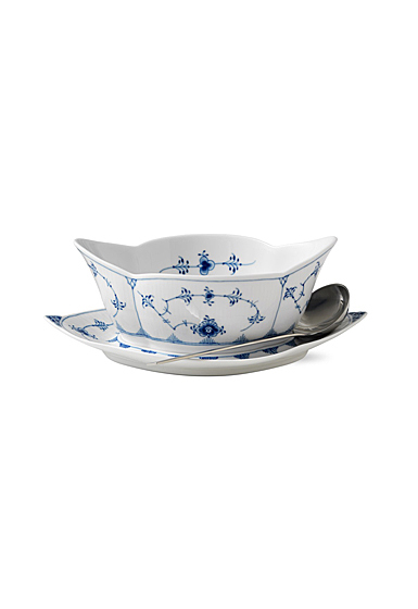 Royal Copenhagen, Blue Fluted Plain Gravy Boat With Stand 18.5oz.