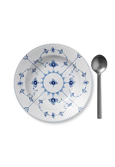 """Royal Copenhagen, Blue Fluted Plain Rim Soup Bowl 9"""""""