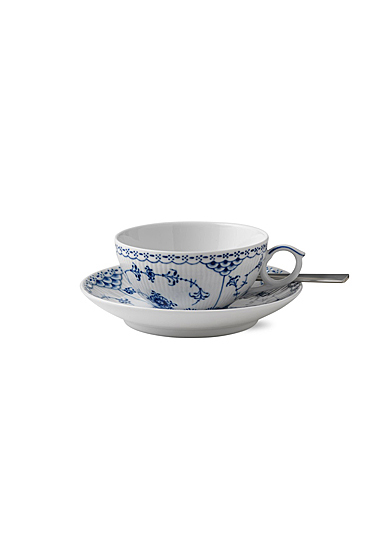 Royal Copenhagen, Blue Fluted Half Lace Tea Cup and Saucer 6.75oz.