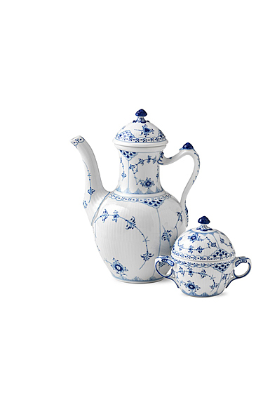 Royal Copenhagen, Blue Fluted Half Lace Coffee Pot 1Qt