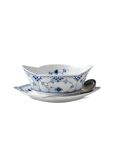 Royal Copenhagen, Blue Fluted Half Lace Gravy Boat With Stand 18.5oz.