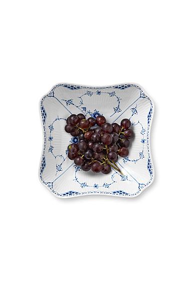 """Royal Copenhagen, Blue Fluted Half Lace Square Bowl 8"""""""