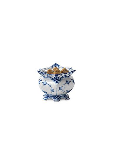 Royal Copenhagen, Blue Fluted Full Lace Sugar Bowl 4.75oz.