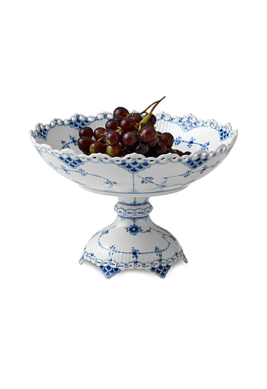 Royal Copenhagen, Blue Fluted Full Lace Footed Compote 11""