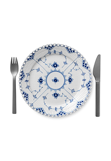 """Royal Copenhagen, Blue Fluted Full Lace Luncheon Plate 9.75"""""""
