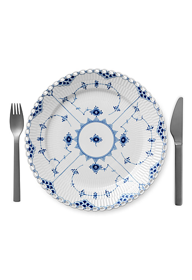 Royal Copenhagen, Blue Fluted Full Lace Dinner Plate Single