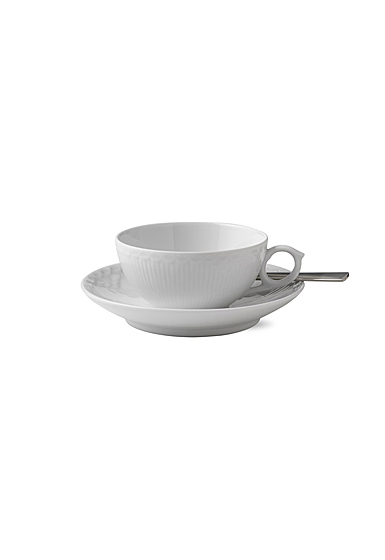 Royal Copenhagen, White Fluted Half Lace Tea Cup and Saucer 6.75oz.