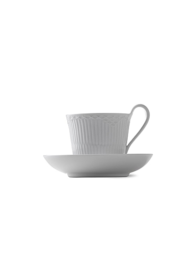 Royal Copenhagen, White Fluted Half Lace High Handle Cup and Saucer 8.5oz.