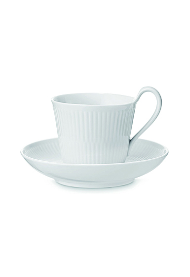 Royal Copenhagen, White Fluted High Handle Cup and Saucer 8.35oz.
