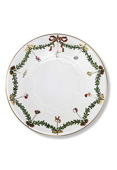 "Royal Copenhagen Star Fluted Christmas Cake Dish 12.5"""