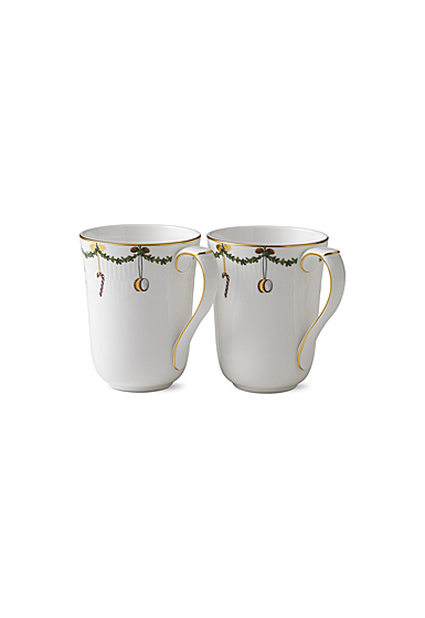 Royal Copenhagen, Star Fluted Christmas Mug 11oz. Pair