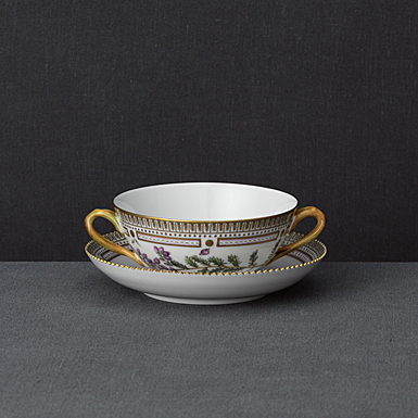 Royal Copenhagen, Flora Danica Handled Soup Cup and Saucer Limited Edition