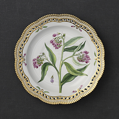"Royal Copenhagen, Flora Danica Plate 11.5"" Perforated Border, Limited Edition"