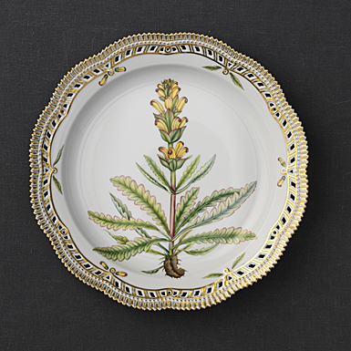 """Royal Copenhagen, Flora Danica Plate 14.25"""" Perforated Border, Limited Edition"""