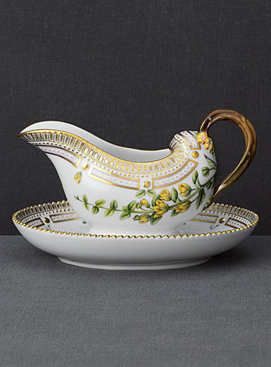 Royal Copenhagen, Flora Danica Gravy Boat With Stand 11.75oz., Limited Edition