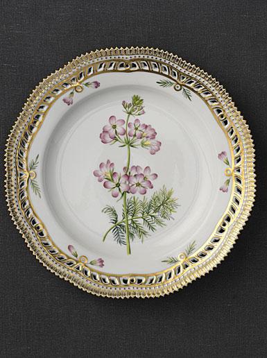 "Royal Copenhagen, Flora Danica Luncheon Plate 9"" Open Border, Limited Edition"