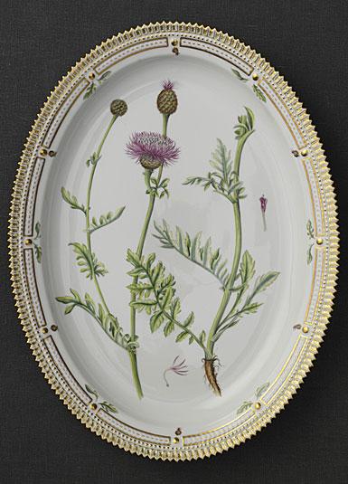 "Royal Copenhagen, Flora Danica Oval Platter 18.5"", Limited Edition"