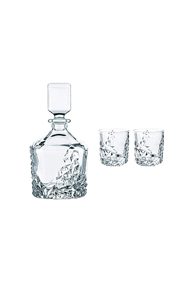 Nachtmann Sculpture Decanter and 2 Whiskey Tumblers, Set of 3