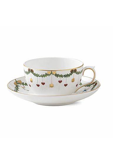 Royal Copenhagen, Star Fluted Christmas Teacup and Saucer 10.75oz.