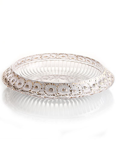 Lalique Crystal, Marguerites Crystal Bowl, Gold - Large
