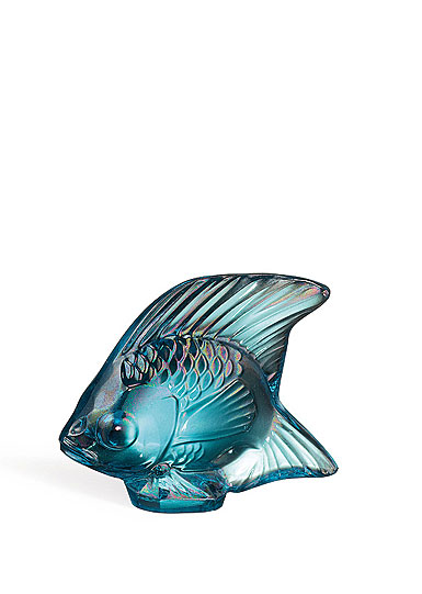 Lalique Crystal, Turquoise Lustre Fish Sculpture