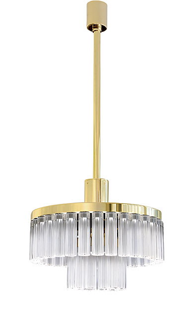 Lalique Orgue Medium 2 Tiers Crystal Chandelier, Gilded