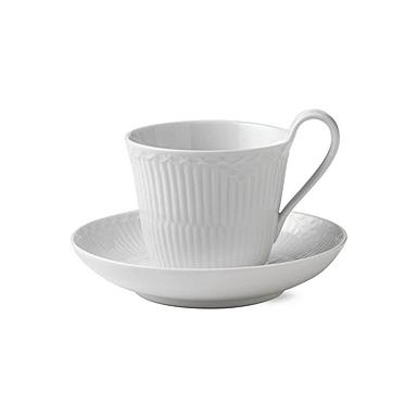 Royal Copenhagen, White Half Lace High Handled Mug