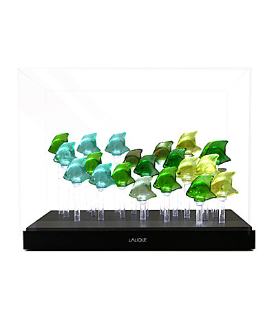 Lalique Crystal, Aquarium LED Green with 25 Fish