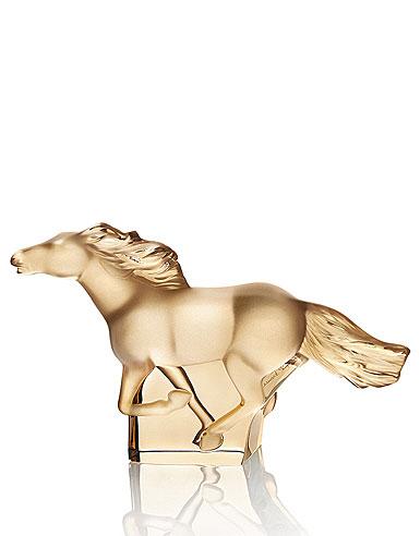 Lalique Crystal, Kazak Gold Horse Sculpture