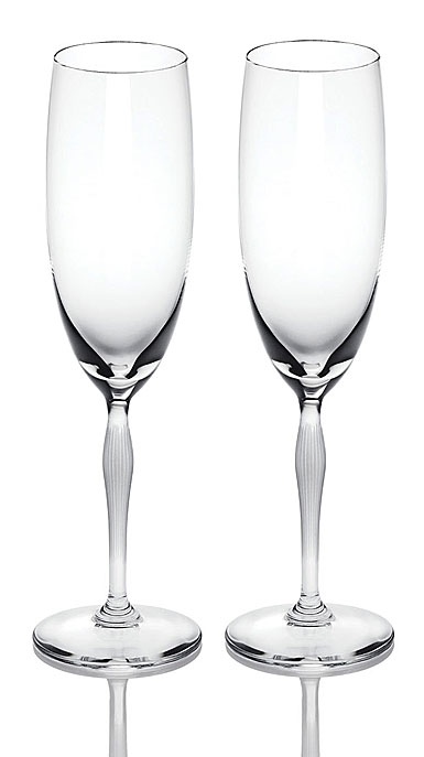 Lalique Crystal, 100 Points Toasting Crystal Flute Crystal Glasses By James Suckling, Pair