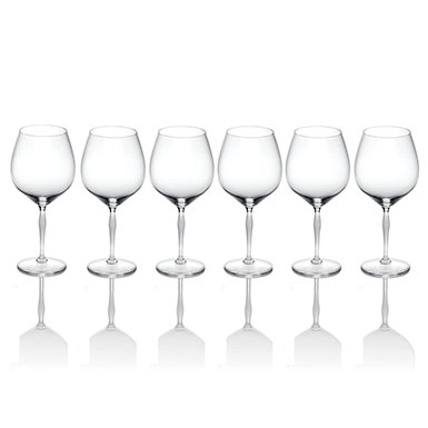 Lalique 100 Points Burgundy Glass By James Suckling, Set of 6