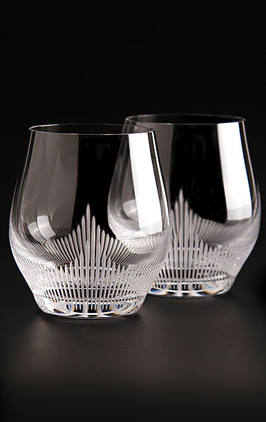 Lalique Crystal, 100 Points Crystal Whiskey Tumbler Crystal Glasses By James Suckling, Pair
