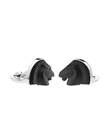 Lalique Cheval Mascottes Cufflinks Pair, Black