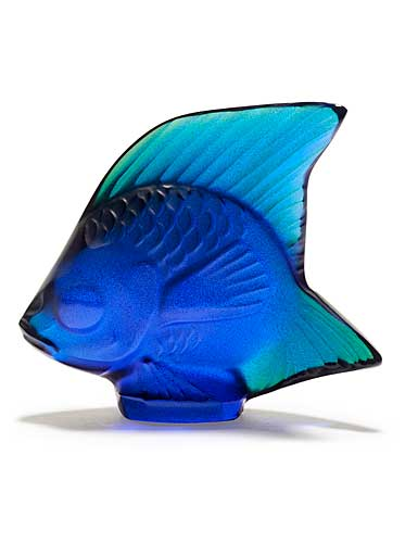 Lalique Crystal, Cap Ferrat Blue Luster Fish Sculpture