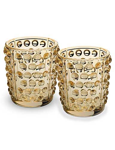 Lalique Crystal, Mossi Gold Luster Crystal Votives, Pair