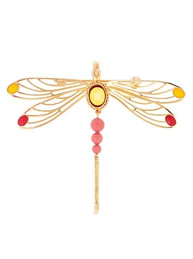 Lalique Crystal Libellule Brooch, Ambre and Gold Vermeil
