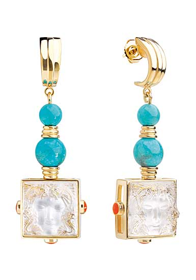 Lalique Crystal Arethuse Earrings, Gold Vermeil