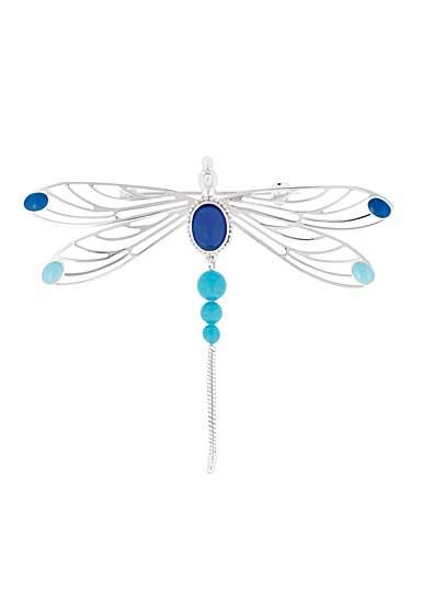 Lalique Crystal Libellule Broche, Blue